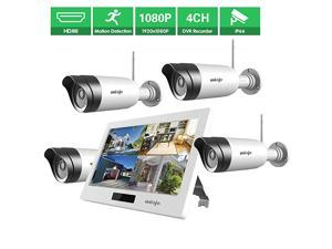 Wireless WiFi Security Camera System 4Pcs  1080P NVR with 101 inches LCD Touch Screen Monitor 4 HD 20 Megapixel Night Vision IP66 Waterproof IP Security Surveillance Camera