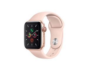 Watch Series 5 (GPS + Cellular, 40MM) - Gold Aluminum Case with Pink Sand Sport Band (Renewed)