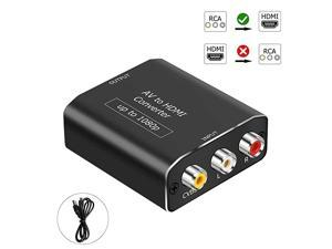 RCA AV Composite to HDMI Video Audio Converter Adapter Mini RCA to HDMI Box Support 1080P for TV/PC/PS2/Blue-Ray DVD,Black