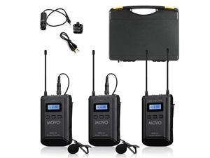 WMX20DUO 48Channel UHF Wireless Lavalier Microphone System with 1 Receiver 2 Transmitters and 2 Lapel Microphones Compatible with DSLR Cameras 330 ft Audio Range