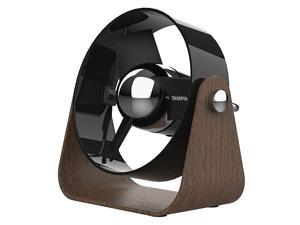 Image SBS2SI Medium Personal USB Fan with Soft Blades 3 Speeds Touch Control Quiet Operation 5V Wall Adapter 6 ft Cable Black Walnut Renewed