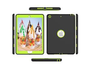 1st Generation Ipad Case IPad 6th 5th Generation Case Caver HighImpact Shock Absorbent Silicone Hard Plastic Dual Layer Protective Case Black Green