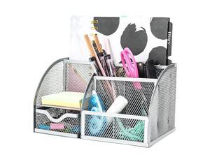 Mesh Desk Organizer Office with 7 Compartments + Drawer Desk Tidy Candy Pen HolderMultifunctional Organizer EX348 Silver