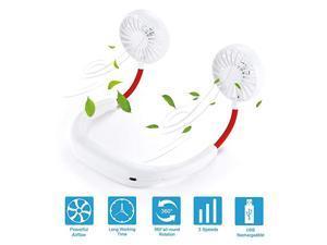 Fan Personal Fan band Fan Portable Fan Mini USB Hands Free Wearable Sports Rechargeable Fan 3 Speed 360 Degree Free Rotationadjustable Suitable for Office Outdoor Trave