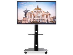 Mobile TV Stand Rolling TV Cart Portable TV Stand with Locking Wheels for 27 32 37 42 47 50 55 inch LCD LED Flat Screen or Curved TVTall Swivel TV Stand Mount Height Adjustable for Home Office