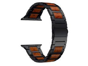 Compatible for Apple Watch Band 44mm 42mm, Natural Wood Red Sandalwood Stainless Steel Metal Strap for iWatch Bands Compatible for Apple Watch SE, Apple Watch Series 6/5/4/3, Black
