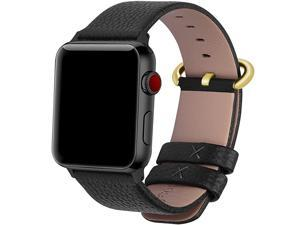 Compatible Apple Watch Band 42mm 44mm 40mm 38mm Leather Compatible iWatch BandStrap Compatible Apple Watch Series 5 4 3 2 1 42mm 44mm Black + Golden Buckle + Black Adapter