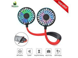 Neck Fan  Upgraded Hand Free Personal Fans Rechargeable USB Fans Soft Material for Long Time Wearing Carrying Pouch included 3 Speeds 360 Degree Rotation for Home Office Outdoor Available in BlueWhit