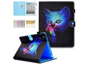 iPad 2 3 4 Case Lightweight MultiAngle Viewing Folio Smart Stand Cover with Auto SleepWake Full Body Protective Wallet Case for Apple iPad 2 iPad 3rd generation iPad 4th generationColor Cat