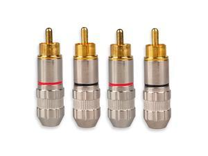 RCA Male Plug Adapter RCA Repair Ends Audio Phono Gold Plated Solder Connector for Speaker Wire 4Pack