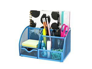 Mesh Desk Organizer Office with 7 Compartments + DrawerDesk Tidy CandyPen HolderMultifunctional Organizer Niagara Blue Trendy Color EX348NBLU