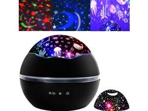 Light Projector Kids Star Light Ocean Projection Lights 8 Colors Changing Lamp 360 Degree Rotating Warm Sleeping Light for Kids Boys Girls Children Baby Bedroom Decoration Birthday Party