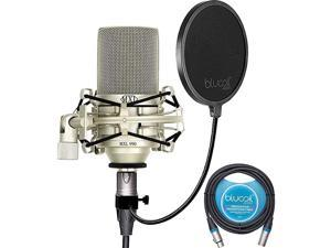 990 Cardioid Condenser Microphone for Podcasts Voiceovers Vocal and Acoustic Instrument Recording Bundle with Blucoil 10FT Balanced XLR Cable and Pop Filter Windscreen