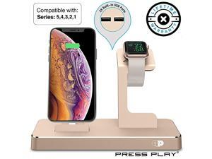 Dock for Apple Watch & iPhone (Apple Certified), ONEDock Power Station w/Built-in Original Apple Lightning Connector for Docking, Made for Series, 5,4,3,2,1, AirPods, iPod