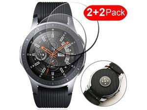 2 Front and 2 Back  Compatible Samsung Galaxy Watch 46mm Front and Back Back Sticker Back Carbon Fiber Back Sticker + 9H Tempered Glass Protective Film for Galaxy Watch 46mm