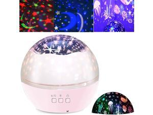 Projector Night Light for Kids Baby Projection Lamp 360 Degree Rotating ry Sky Ocean Projection Night Light 8 Colors Changing Light for Children Kids Boys Girls Bedroom Party Birthday Pink