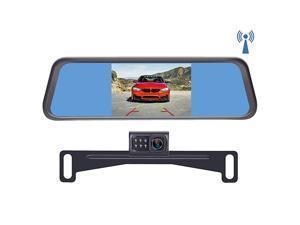 S4 Digital Wireless Backup Camera Kit License Plate Rear View Hitch Camera with Mirror Monitor for Trucks Cars Vans SUVs IP69 Waterproof Camera Super Night Vision Parking Reversing