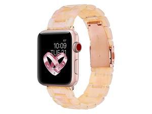Compatible Apple Watch Band 42mm 44mm Women Resin Apple Watch Band Bracelet Metal Stainless Steel for Apple Watch Series 5 Series 4 Series 3 Series 2 Pearly Floral Pink