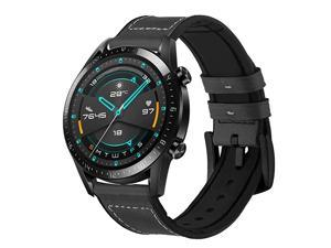 Bands for Samsung Galaxy Watch 3 Band 45mm22mm Hybrid Rubber Leather Sports Sweat Proof Silicone Vintage Replacement Band for Galaxy Watch 3 45mm Huawei Watch GT 2e GTGT 2 46mm