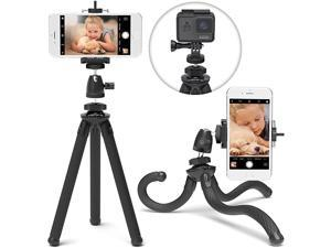 SquidGrip Flexible Cell Phone Tripod and Portable Action Camera Holder Compatible with iPhone GoPro Android Samsung Google Pixel and All Mobile Phones