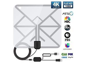 Antenna, Indoor Digital TV Antenna 60-100 Miles Range, HD Antenna with Amplifier Support 4K 1080P Antenna TV Digital HD Television Local Channels - 16.5Ft Coaxial Cable
