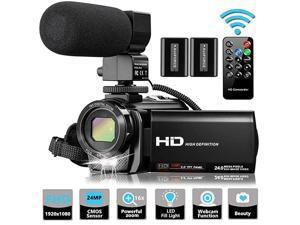 Video Camera Camcorder with Microphone  FHD 1080P 30FPS 24MP Vlogging YouTube Cameras 16X Digital Zoom Camcorder Webcam Recorder with Remote Control 30 Inch 270° Rotation Screen