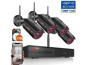 1080P Wireless Home Security Camera System Outdoor8CH 1080P HD NVR Wireless CCTV Surveillance Systems WiFi NVR Kits with 4Pcs 1080P Wireless IP CamerasExpand Up to 8pcs Cams1TB Hard Drive by