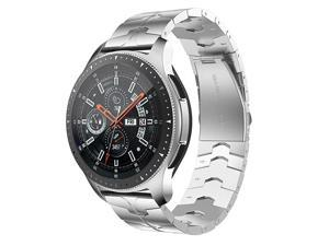 Compatible for Samsung Galaxy Watch 45mm/46mm bands,22mm Enamel Process Stainless Steel Metal Watch Strap Compatible Samsung Watch 3 45mm,Gear S3 Frontier/Classic Smartwatch,Silver