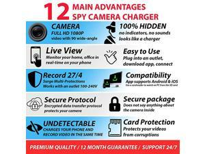 Camera Wireless Hidden WiFi Camera with Remote View HD 1080P Camera Charger Camera Wireless USB Hidden Camera Nanny Camera Premium Security Camera Hidden Cam iOS Android