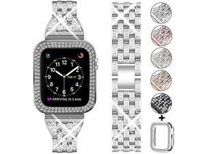 Compatible Apple Watch Band 44mm 42mm 38mm 40mm with Case WomenRhinestone Metal Jewelry Wristband Strap with Bling PC Protective Case Replacement for iWatch Series 5 4 3 2 1Silver