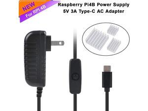 Raspberry Pi 4b Power Supply AC Adapter 5V 3A USBC TypeC with Switch Button Charger for Rasberry Pi 4 Generation with Raspberry Pi 4 Heat Sink Set