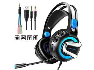 Headset with Microphone 71 Stereo Surround Sound Wired Over Ear Headphone for Xbox One PS4 PC Laptop Nintendo Switch and other 35mm devices LED Light Noise Isolation Steel Frame Blue