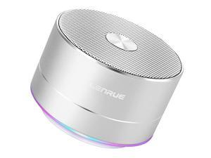 Portable Wireless Bluetooth Speaker with Built-in-Mic,Handsfree Call,AUX Line,TF Card,HD Sound and Bass for iPhone Ipad Android Smartphone and More (Silver)