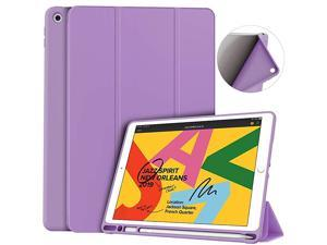 iPad 7th8th Generation CaseCompatible iPad 8th Generation2020 ReleasesiPad Case 102 Case with Pencil Holder Lightweight Smart Cover with Soft TPU BackAuto SleepWake Purple