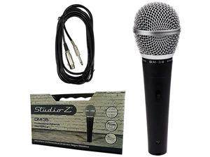 DM38 Microphone Unidirectional Dynamic Cardioid Lead Karaoke Built to Last Bonus 16ft 14 Male to XLR Female Cable Plastic Case