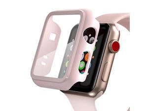 Compatible Apple Watch Series 3 Series 2 Case with Screen Protector 38mm Accessories Slim Guard Thin Bumper Full Coverage Matte Hard Cover Defense Edge for Women Men New Gen GPS iWatch Pink