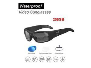 256GB  Waterproof Video Sunglasses, 1080P Full HD Video Recording Camera with Polarized UV400 Protection Safety Lenses,Unisex Sport Design