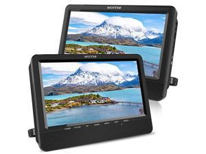 105 Dual Screen DVD Player Portable Headrest CD Players for Kids with 2 Mounting Brackets Builtin 5 Hours Rechargeable Battery Great for Car Travel 1 Player+1 Monitor