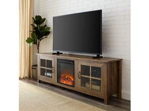 Edison Bern Classic 2 Glass Door Fireplace TV Stand for TVs up to 80 Inches, 70 Inch, Rustic Oak