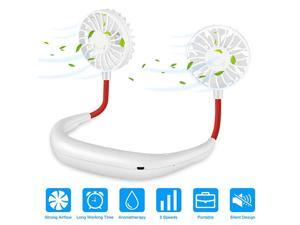 Around Neck Fan Portable Personal  Fan Necklace USB Rechargeable with Dual Cooling Wind Head for Outdoor Office Sport Travel White