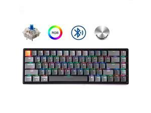 K6 68Key Wireless BluetoothUSB Wired Gaming Mechanical Keyboard Compact 65 Layout RGB LED Backlit NKey Rollover Aluminum Frame for Mac Windows Gateron Blue Switch