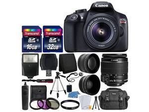 EOS Rebel T6 Digital SLR Camera with 18-55mm EF-S f/3.5-5.6 is II Lens + 58mm Wide Angle Lens + 2X Telephoto Lens + Flash + 48GB SD Memory Card + UV Filter Kit + Tripod + Full Accessory Bundle