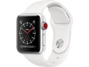 Watch Series 3 (GPS + Cellular, 42MM) - Silver Aluminum Case with White Sport Band (Renewed)