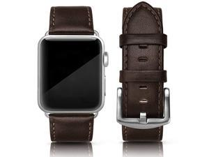 Leather Band Compatible for iWatch 42mm 44mm Genuine Leather Replacement Wristband Strap Compatible iWatch Series 6 Series 5 Series 4 Series 3 Series 2 Series 1 SE Sports Edition Men Coffee Brown