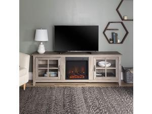 Edison Bern Classic 2 Glass Door Fireplace TV Stand for TVs up to 80 Inches, 70 Inch, Grey Wash