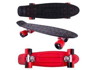 22 Inch Complete Plastic Grip Tape Cruiser Skateboard Custom NonSlip Deck Multiple Colors Red