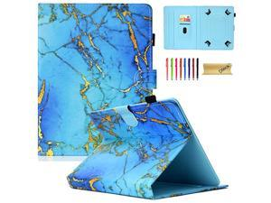 7585 Inch Universal Case with Stylus Pen Leather Wallet Stand Cover for iPad MiniSamsung GalaxyHD 8 HuaweiLenovoLG G PadNook 78 8 83 84 85 Inch Tablet Gold Blue Marble