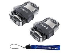 Ultra Two Pack Dual Drive m30 for Android Devices and Computers Flash Drive Bundle with Everything But Stromboli Lanyard 256GB 2 Pack
