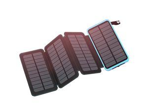 Solar Charger 25000mAh  Portable Solar Power Bank Dual USB Ports Waterproof External Battery with LED Flashlight for Smartphones Tablets and More