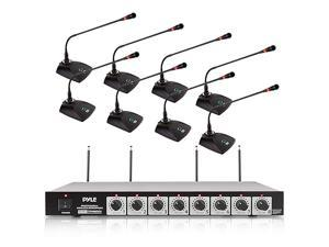 """8 Channel Wireless Microphone System - Portable VHF Cordless Audio Mic Set with 1/4"""" and XLR Output, Dual Antenna, - Includes 8 Table Top Mics, Rack Mountable Receiver Base -  PDWM8300,Black"""